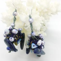 Lilac silver plated wire earrings, with pearls and sodalite stones #lilac #purple #pearls #sodalite #greekdesigners #greekjewelry #maria_kanale #contemporaryjewellery #oneofakind Lace Earrings, Yellow Earrings, Statement Earrings, Silver Earrings, Wire Jewelry, Gemstone Jewelry, Greek Jewelry, Silver Pearls, Contemporary Jewellery