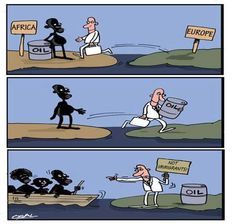 Gutierrez-Gomez Osvaldo Africa and Europe Political Art, Political Cartoons, Satirical Illustrations, Reality Of Life, Social Art, Truth Of Life, True Art, Thought Provoking, Real Life