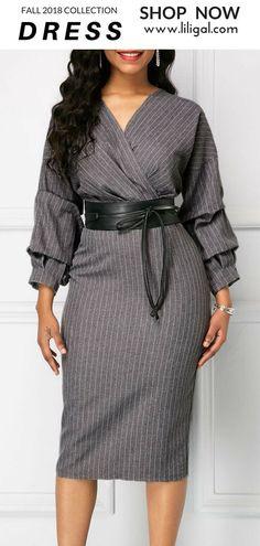 USD34.90 Zipper Back V Neck Sheath Dress  liligal  dresses Μόδα Για Κορίτσια 77d5bb25397
