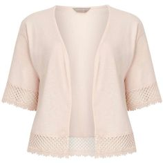 Dorothy Perkins Petite Cream Lace Crop Cardi ($25) ❤ liked on Polyvore featuring tops, cardigans, cream, petite, cream lace top, lace cardigan, cropped cardigan, lace crop top and petite cardigan