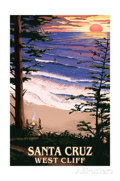 Santa Cruz, California - West Cliff Sunset and Surfers Art by Lantern Press at AllPosters.com
