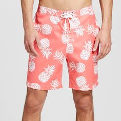 Men's Pineapple Swim Trunks Coral Xxl - Trunks Surf & Swim, Red