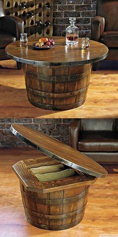 Handmade Vintage Oak Whiskey Barrel Round Table ❥❥❥ http://bestpickr.com/cool-unique-coffee-tables-unusual-ideas #pfister #indira