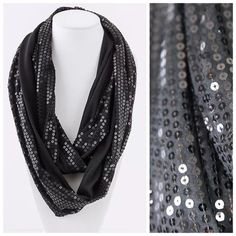 """B12 Black Dual Sided Sequin Infinity Scarf This scarf is so fun & beautiful!    Double sided, sequin on one side and soft fabric on the other.  This scarf with go with pretty much anything in your closet.  Dress up any outfit day or night.  Also available in other colors.  Please check my closet for many more items including jewelry & designer scarves.  100% polyester.   ‼️️PRICE FIRM UNLESS BUNDLED‼️ Length 36""""  Width 7"""" Boutique Accessories Scarves & Wraps"""