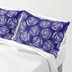 Buy 'Doodle Roses' Navy Blue and White pillow sham by  Notsundoku | Society6. A repeat pattern of hand drawn doodle roses. #repeatpattern #patterns #roses #doodles #doodleart #flowers #handdrawn #Notsundoku #Society6 #pillowsham #cushions #livingspace #homedecor #pillows
