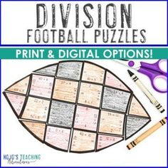 DIVISION Football Activities | Football Transformation or Classroom Theme Decor | 3rd, 4th, 5th grade, Activities, Basic Operations, Google Apps, Homeschool, Math, Math Centers, Mental Math Math Math, Fun Math, Math Activities, Sports Theme Classroom, 4th Grade Classroom, Reading Recovery, Ell Students, 21st Century Skills, Critical Thinking Skills