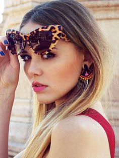 Like the combo red, blue and leo #leopard #sunglasses