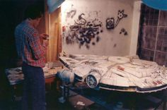Joe Johnston paints the Millennium Falcon model, circa 1975 at ILM