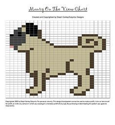 Ravelry: Maury On The View Chart pattern by Steph Conley -- a chart of a side view pug for knitting or cross stitch.