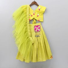 Pre Order: Green Crop Top And Lehenga With Frilly Dupatta Kids Dress Wear, Kids Gown, Dresses Kids Girl, Kids Outfits, Kids Wear, Kids Indian Wear, Kids Ethnic Wear, Kids Frocks Design, Baby Frocks Designs