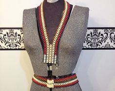 1960's Bohemian Beaded Necklace and Belt, Vintage Native American Boho Style Women's Tie & Belt Set, 60's Hippie Beaded Necklace and Belt