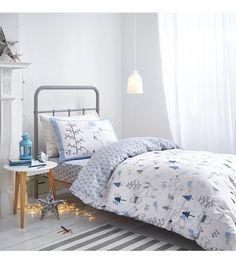 Bianca Cotton Soft Nordic Blue Print Duvet Cover Set - Single