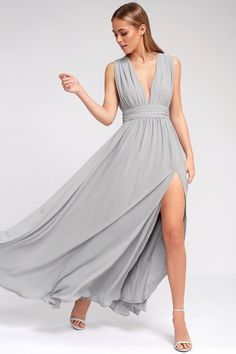 Lulus Exclusive! You'll be goddess-like for the entire evening in the Heavenly Hues Light Grey Maxi Dress! Georgette fabric drapes alongside a V-neck and back, and lays across a banded waist. Full maxi skirt has a sexy side slit. Hidden back zipper with clasp.