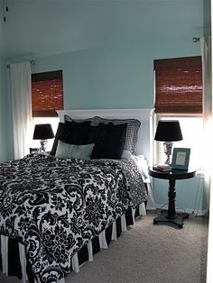 Love This Paint Color Aquatic Edge By Valspar I M Thinking For The Powder Room And I M Liking The Black White Damask With It