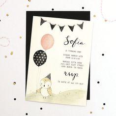 Pájaro y globos  bebé / invitación fiesta de por KelliMurrayArt, $50.00