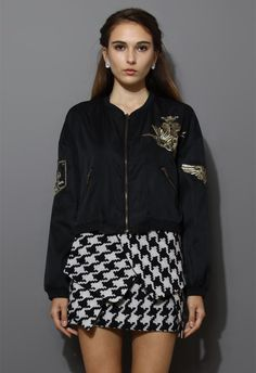 Golden Embroidery Bomber Jacket