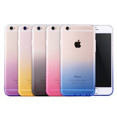 Free Delivery Phone Case For iPhone 6 6s Plus 7 7Plus Covers Transparent Gradient Color Design TPU Silicon Phone Covers