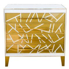 Commode with Three Drawers in Tinted Glass