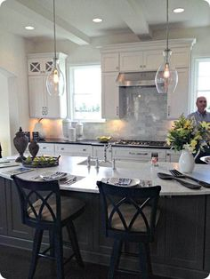 love the gray island with the white cabinets and the light fixture! love the gray island with the white cabinets and the light fixture! Kitchen Island Lighting, Kitchen Lighting Fixtures, Kitchen Pendant Lighting, Kitchen Pendants, Light Fixtures, Island Pendant Lights, Island Pendants, Island Kitchen, Kitchen Redo