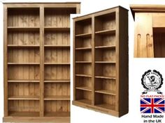 Pine Bookcase; 100% Solid Wood 6ft x 4ft Bookshelf, Adjustable Display Shelving Unit. Choice of Colours! by Heartland Pine, http://www.amazon.co.uk/dp/B005U114RM/ref=cm_sw_r_pi_dp_acdFrb0DQ0T65