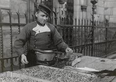 Shrimp Vendor in regional costume from Volendam, 1942.