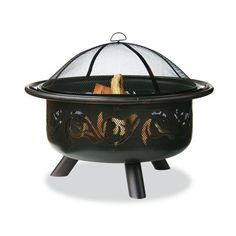 """Uniflame WAD900SP 32"""" Wide Oil Rubbed Bronze Firebowl with Swirls Oil ($171) ❤ liked on Polyvore featuring home, outdoors, outdoor decor, firepits, free standing, oil rubbed bronze, outdoor living, outdoor heater, outdoor patio heaters and outside garden decor"""