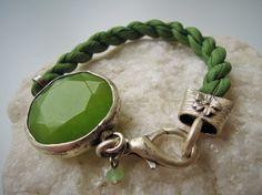 Bangle Bracelet green peridot bracelet by ellajewelrystore