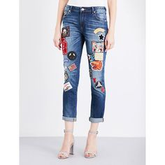 TRUE RELIGION Audrey patch skinny stretch-denim jeans ($435) ❤ liked on Polyvore featuring jeans, stretchy skinny jeans, mid rise skinny jeans, slouch skinny jeans, stretch skinny jeans and white jeans