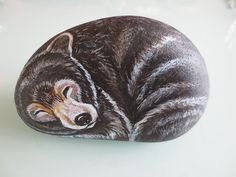 Sleeping bear Pebble Painting, Stone Painting, Rock Painting, Painted Rock Animals, Painted Rocks, Bear Paintings, Pet Rocks, Bear Cartoon, Black Bear
