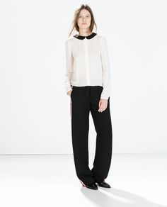 Image 1 of SHIRT WITH CONTRASTING COLLAR from Zara