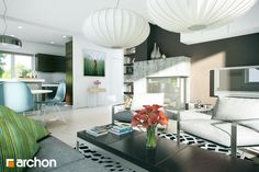Dom w lotosach 2 Modern Design, Ceiling Lights, Dining, Home Decor, Houses, Home, Food, Contemporary Design, Ceiling Lamps
