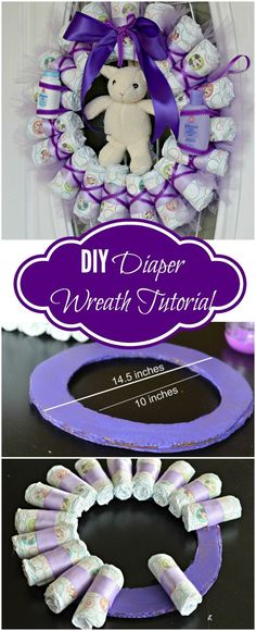 Tired of Diaper Cakes at Baby Showers? Check out this Diaper Wreath Tutorial! Th… Tired of diaper baby showers at Cakes? Take a look at this diaper wreath guide! This article will show you how to do it. Baby Shower Crafts, Baby Shower Fun, Baby Shower Favors, Baby Shower Themes, Shower Ideas, Shower Cake, Creative Baby Shower Gift, Shower Party, Baby Shower Wreaths