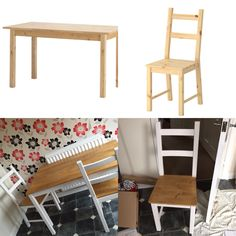 IKEA Ivor chairs and ingo table painted in soft cream and stained with vintage pine. & IKEA HACK: FROM INGO TO FARMHOUSE TABLE | Home Decor Ideas ...