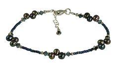 Beaded Anklets, Beaded Bracelets, Anklet Jewelry, Peacock Blue, Swarovski Pearls, Ankle Bracelets, Blue Opal, 925 Silver, Sterling Silver