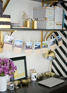 You don't need a lavish budget to create a great home office. Here are some easy home office decorating ideas that you can use to help maximize your office's style and function. You spend long hours in your home office, Diy Dorm Decor, Home Office Decor, Dorm Decorations, Dorm Desk Decor, Diy Room Decor For College, Teen Decor, Office Cubicle Decorations, Decorate Office Cubicle, Decorating Office At Work