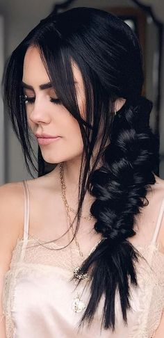 Wedding Hairstyles For Long Hair, Braided Hairstyles, Hairstyles For Black Hair, Fall Hairstyles, Formal Hairstyles, Black Hair Updo, Long Dark Hairstyles, Black Hair Fringe, Mermaid Hairstyles