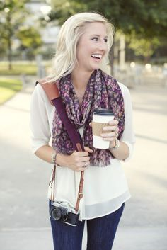 Fall, we are ready for you!  The Merlot Fotostrap camera strap paired with a fun fall scarf and hot coco = perfect!
