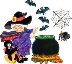 Bruxa fofa com seu gatinho em frente ao caldeirão #bruxas morcegos aranhas aboboras caldeirao