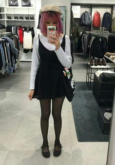 Korean layered back dress ~ cute ~ aesthetic ~ korean style