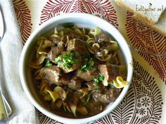 Beef tips and gravy in the oven or crock pot. Simple and delicious.