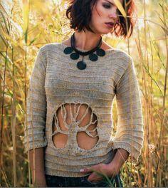Tree pullover, crochet - Alize 2014, Russian