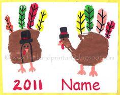 Handprint and Footprint Arts & Crafts: Thanksgiving/Fall art