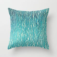 pattern - turquoise Throw Pillow by Iris Lehnhardt - $20.00
