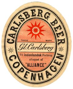 The first Carlsberg beer label used on bottles, designed by Carlsberg founder J.C. Jacobsen and his son Carl. 1880s.
