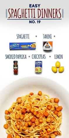 Spaghetti with Chickpeas in Lemon Tahini Sauce | 19 Delicious Spaghetti Dinners  Note: Use Gluten Free Pasta
