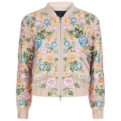 Needle & Thread Floral Embroidered Bomber Jacket found on Polyvore featuring outerwear, jackets, lightweight jackets, bomber style jacket, flight jacket, zip bomber jacket and light weight jacket