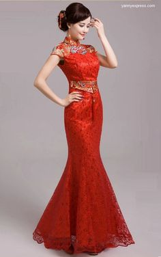Chinese Wedding Ball Qipao Modified Bridal Mermaid Gown
