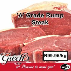 Another special at Greeff's Butchery - 'A' Grade Rump Steak at only Visit Greeff's Butchery Cafe and get yours today. Rump Steak, Beef, Food, Meat, Essen, Ox, Ground Beef, Yemek, Steak
