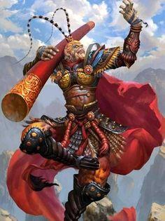 Monkey Art, Monkey King, Fantasy Warrior, Fantasy Art, Fantasy Creatures, Mythical Creatures, Dota 2 Heroes, Los Primates, Character Art