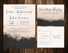 Stunning nude and charcoal watercolor wedding invitation suite from Paper n' Peonies on Etsy!